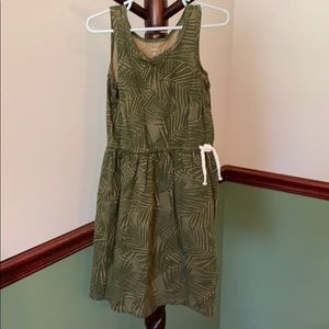 Little girls green, jungle print dress